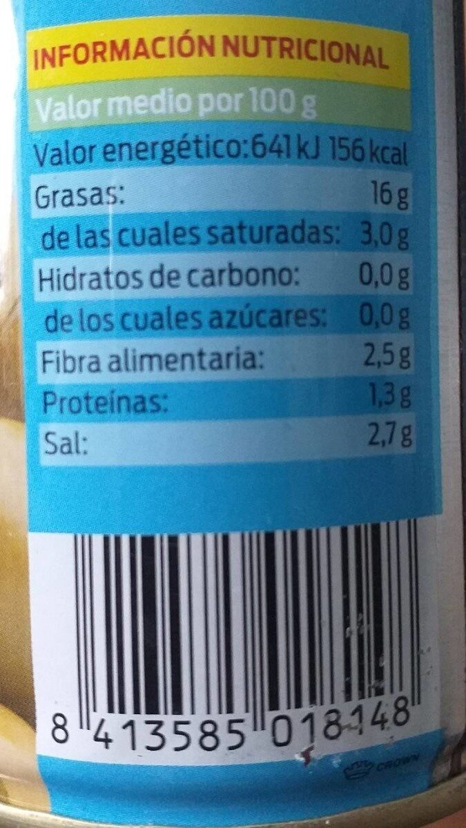 Aceitunas verdes rellenas de anchoa - Nutrition facts - es