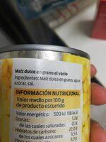 Maiz dulce - Ingredientes - es