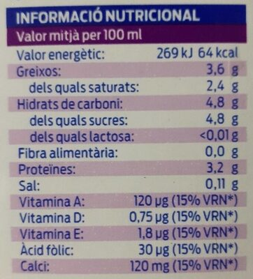 Leche UHT entera - Información nutricional