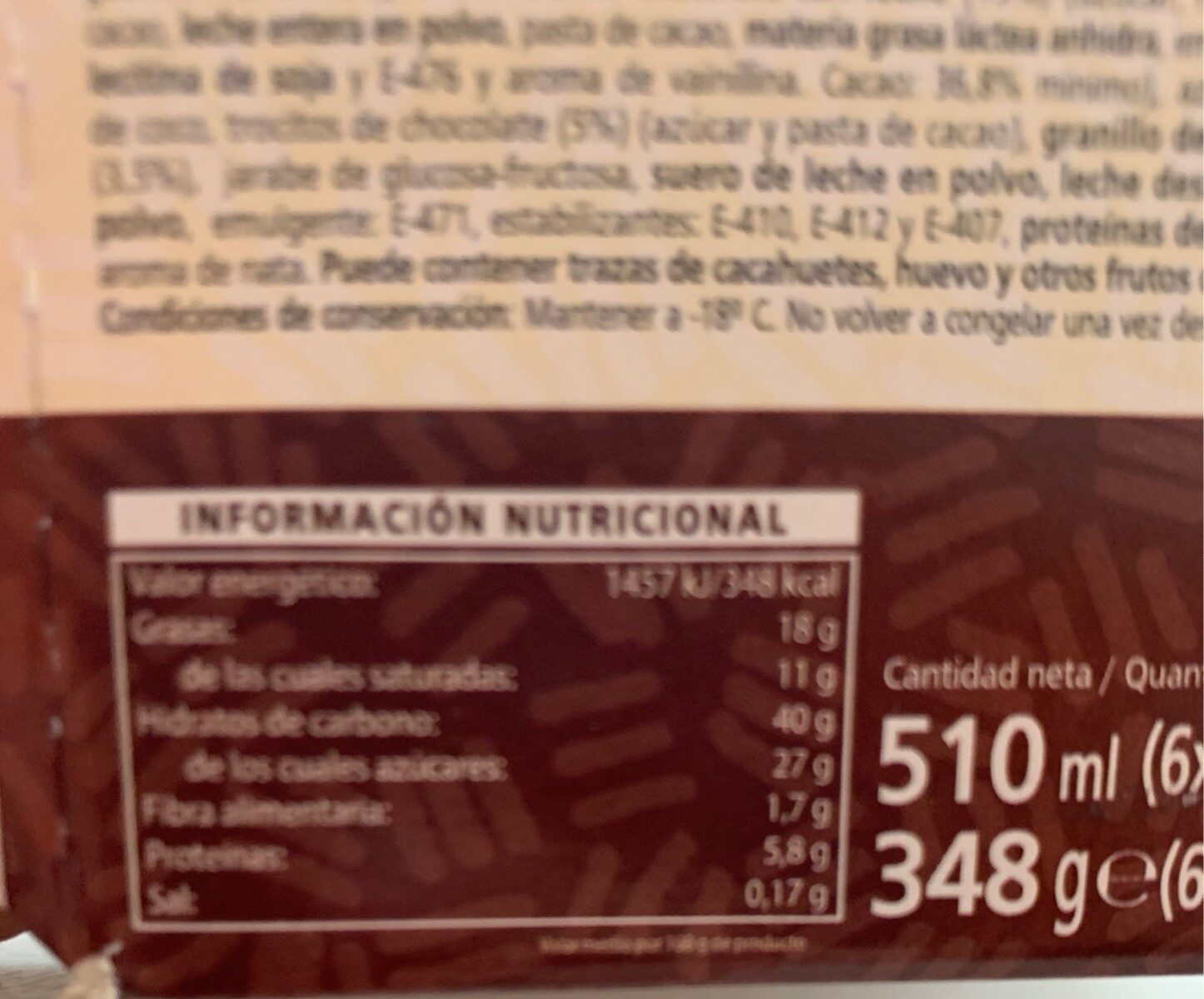 Sandwich Bombó - Voedingswaarden