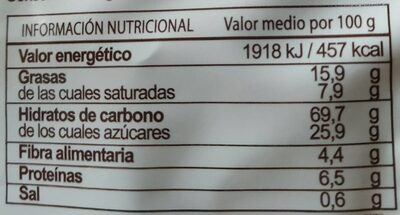 Minis cookies - Información nutricional - es