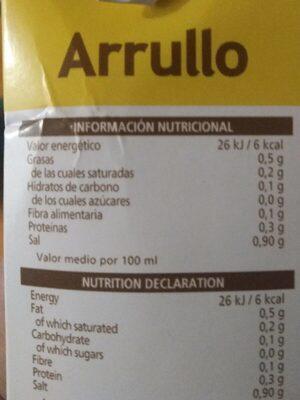 Caldo de pollastre - Información nutricional