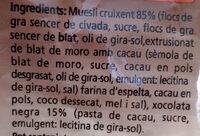 Muesli crujiente de chocolate - Ingredients - ca