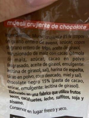 Muesli crujiente de chocolate - Ingredients - es