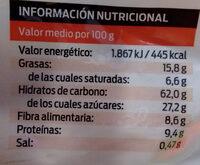 Muesli crujiente de chocolate - Informació nutricional - ca