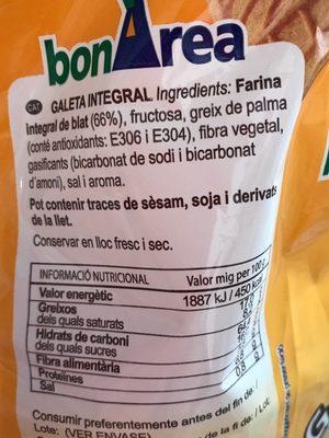 Galletas integrales con fibra - Ingrediënten