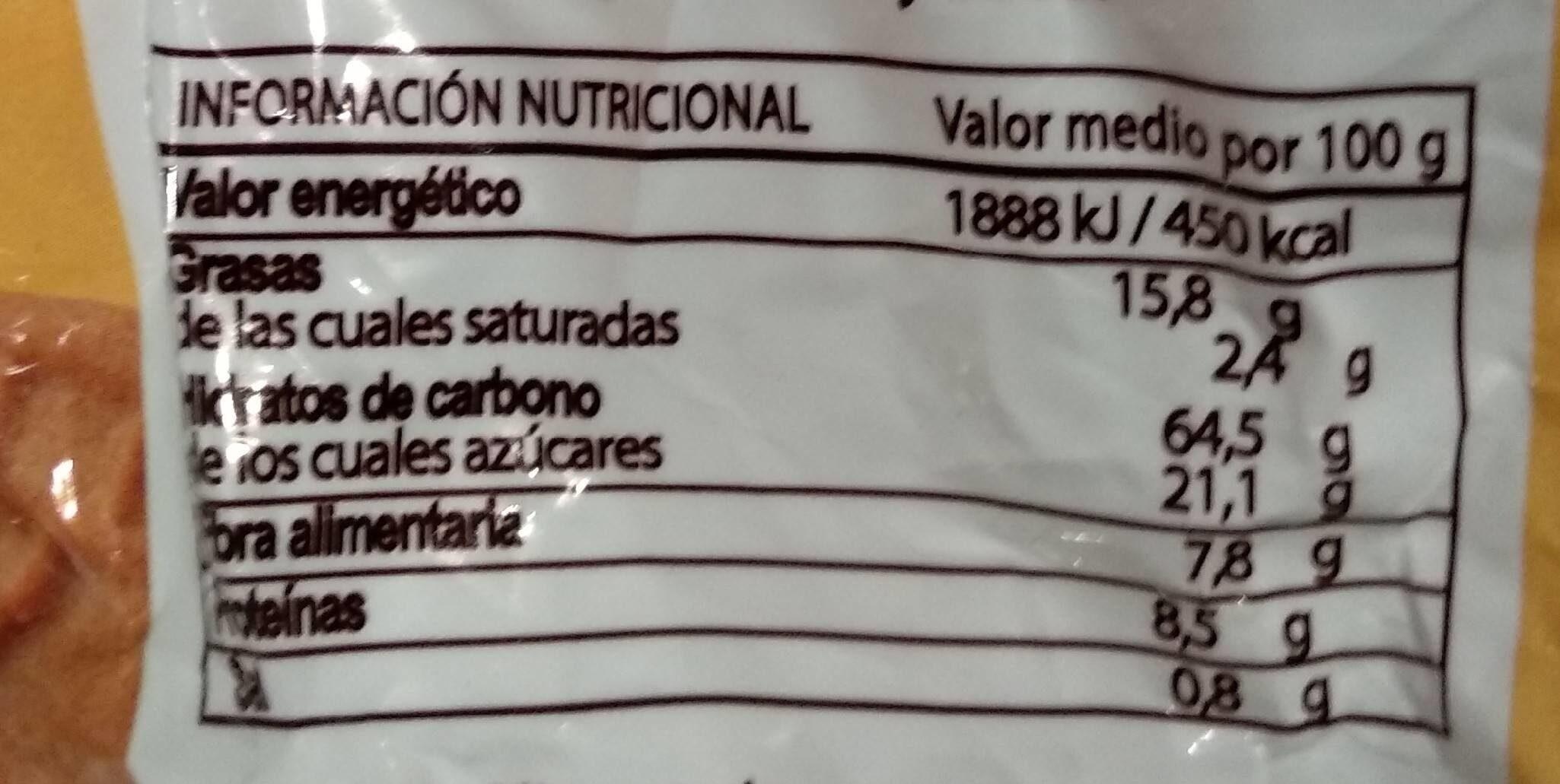 Galletas integrales con fibra - Voedingswaarden