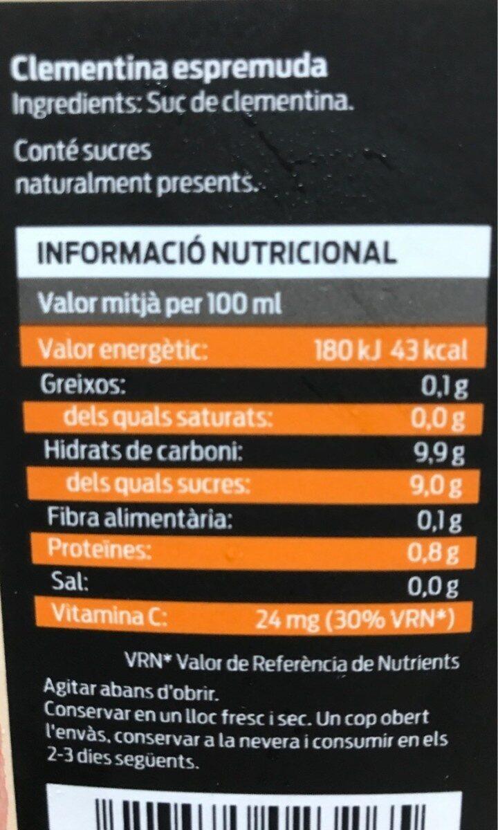 Clementina exprimida - Voedingswaarden - es