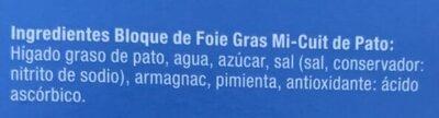 Bloque de Foie Gras Pato - Ingredients - es