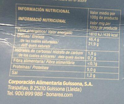 Bloque de Foie Gras Pato - Informació nutricional - es