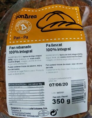 Pan rebanado 100% integral - Prodotto