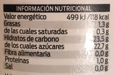 Sorbete de mandarina - Informations nutritionnelles