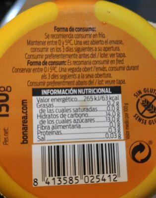 Poma i pera postre - Información nutricional