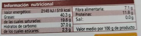 Chocolate negro con almendras sin azúcar - Nutrition facts - es