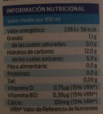 Bebida de arroz 100% vegetal - Voedingswaarden