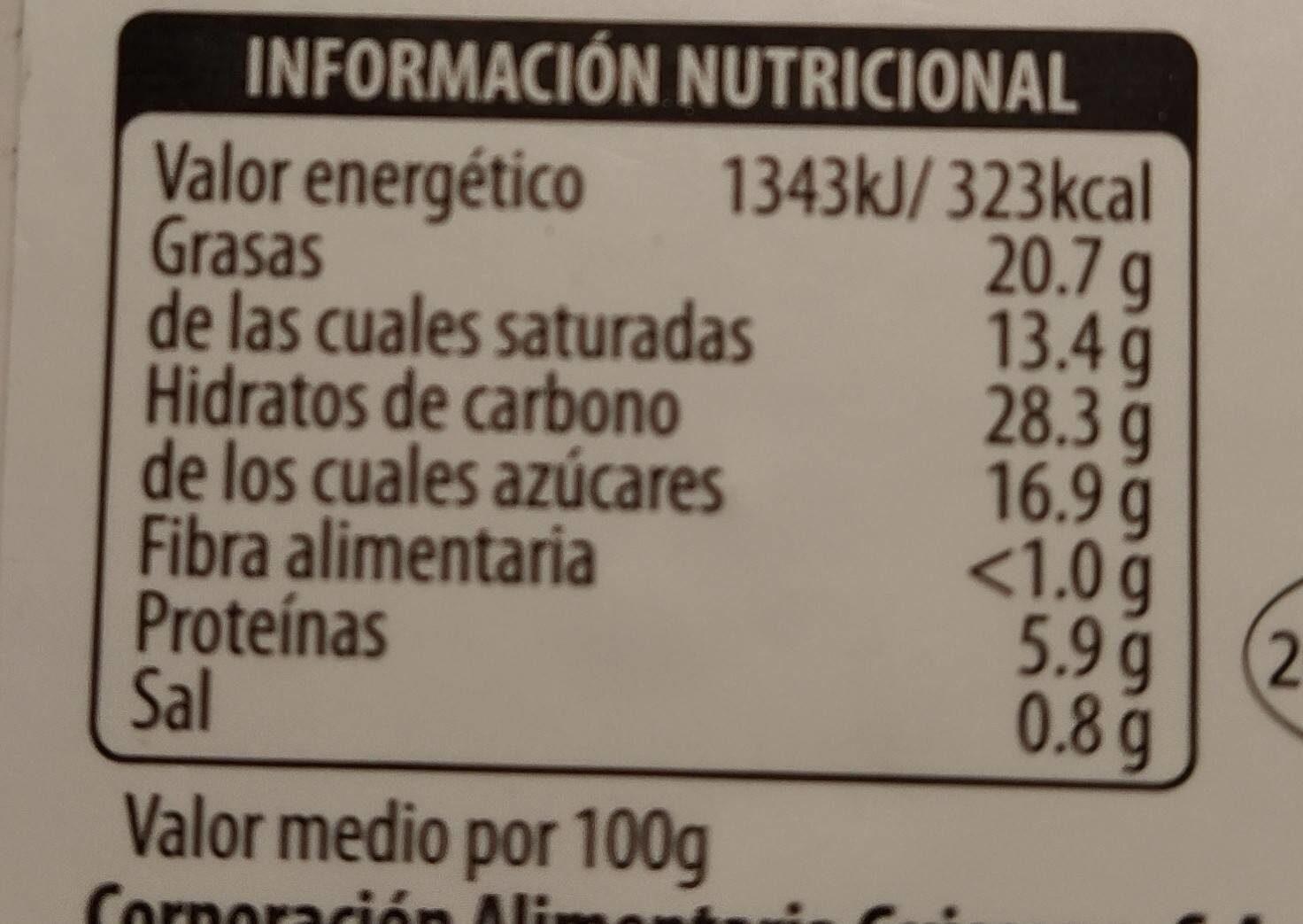 Tarta de queso - Informació nutricional - es