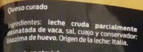 Queso Rallado Grana Padano - Ingredientes - es