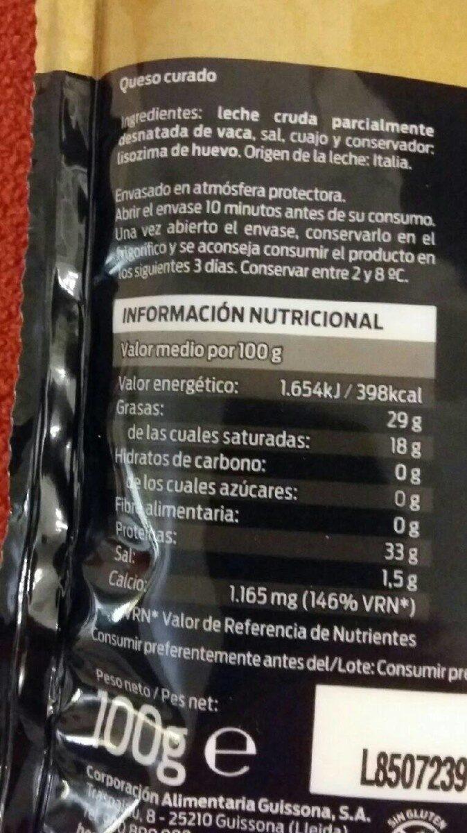 Queso Rallado Grana Padano - Información nutricional - es