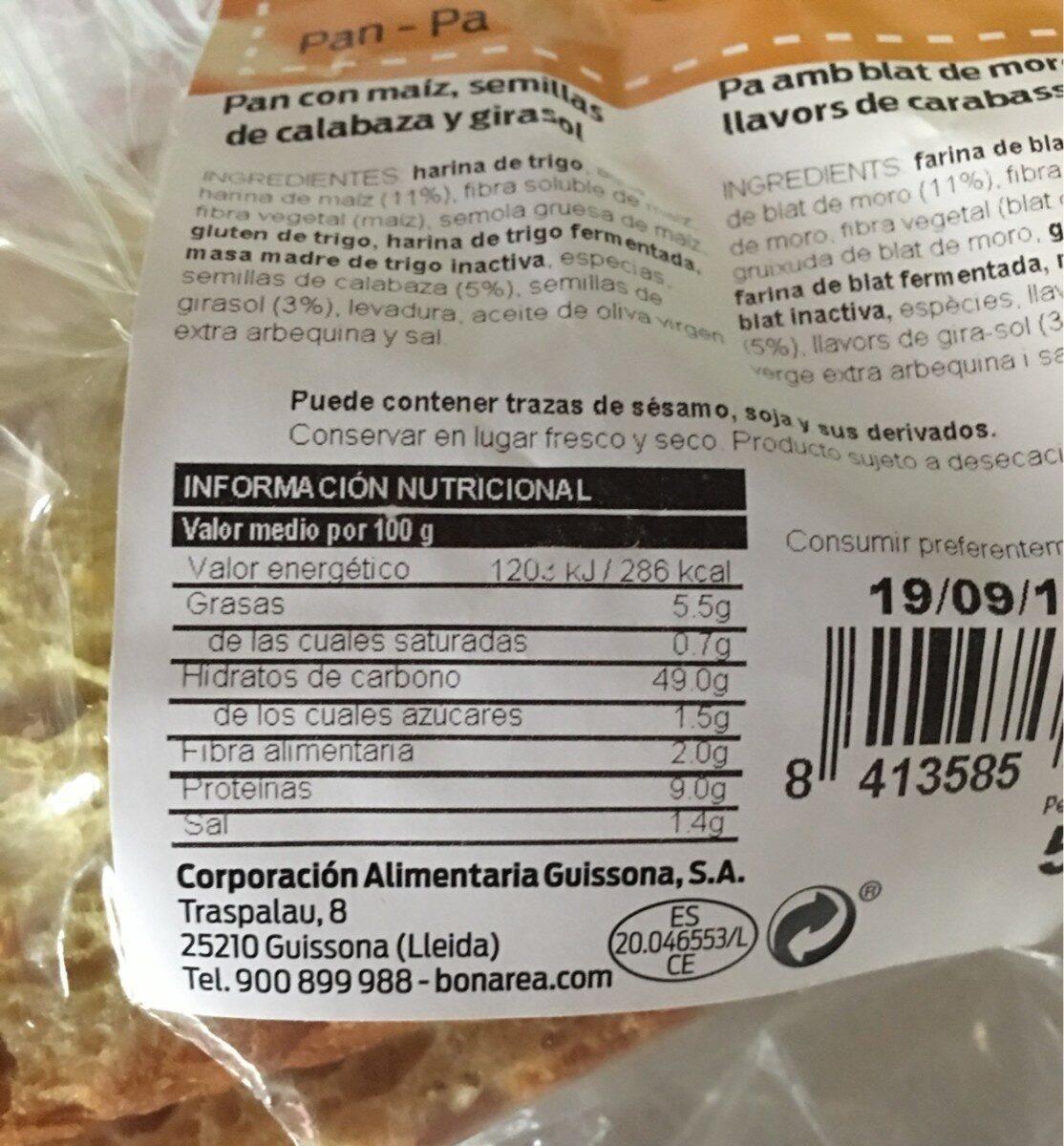 Pan connmaíz, semillas de calabaza y girasol - Nutrition facts