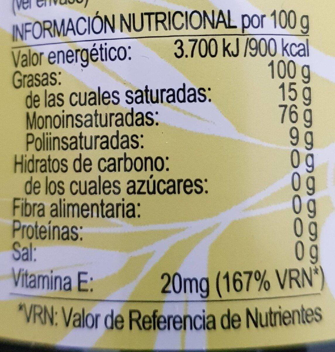 Aceite de oliva virgen extra arbequina - Valori nutrizionali - es