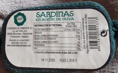 Sardinas en aceite de oliva Gormet - Información nutricional - en