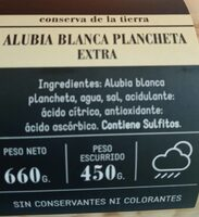 Alubia blanca plancheta extra - Informació nutricional - es