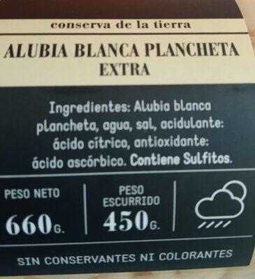 Alubia blanca plancheta extra - Informació nutricional