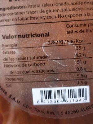 Viruta de patata - Nutrition facts - es