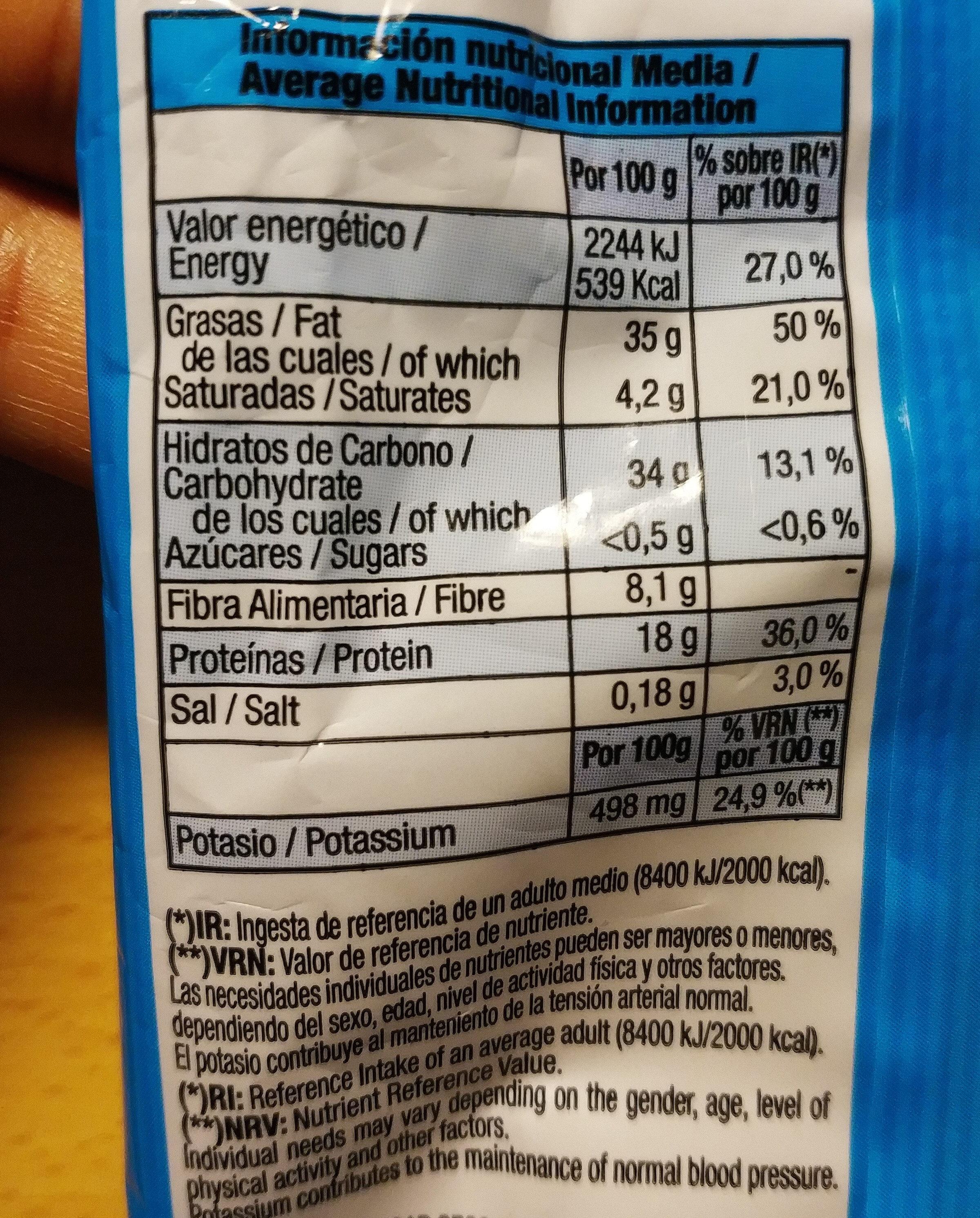 Cocktail de frutos secos - Información nutricional