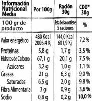 "Aros de maíz ""Chaskis"" (150 g) - Informació nutricional - es"