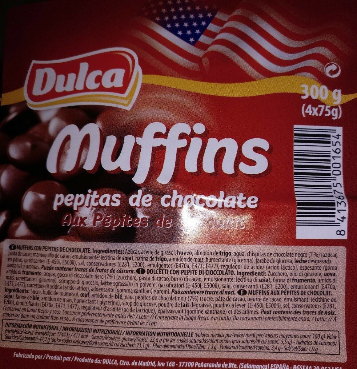 Muffins pepitas de chocolate - Produit - es
