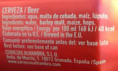 cerveza Alhambra tradicional - Ingredientes