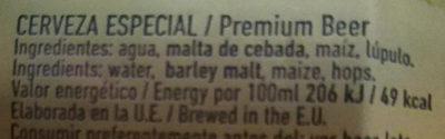 Alhambra especial - Ingredientes - es