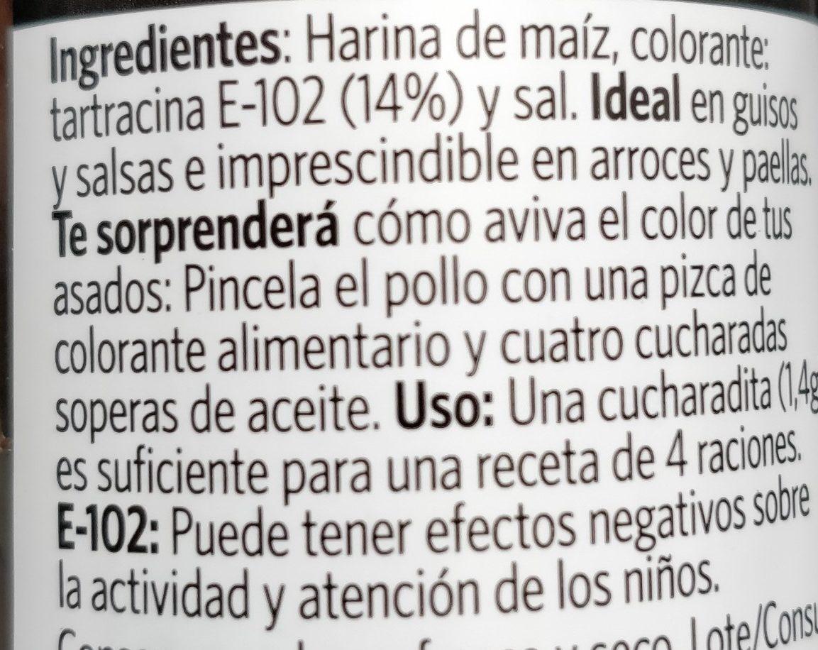 Carmencita Colorante Alimentario - Ingredients