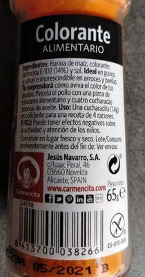 Carmencita Colorante Alimentario - Informació nutricional