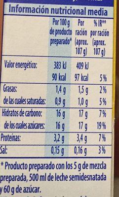 Préparation pour Flan Classique - Informació nutricional