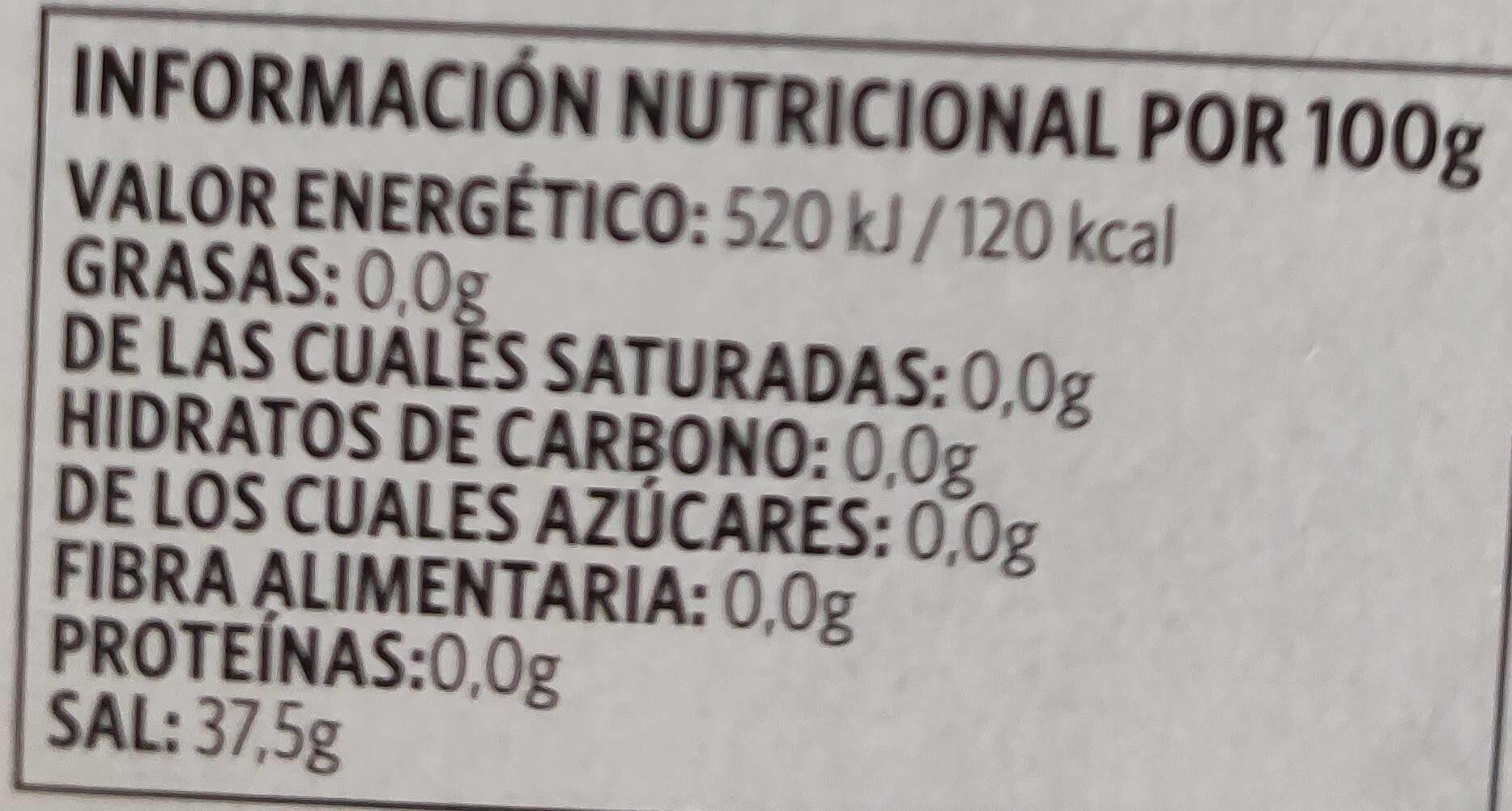 Gasificante - Valori nutrizionali - es