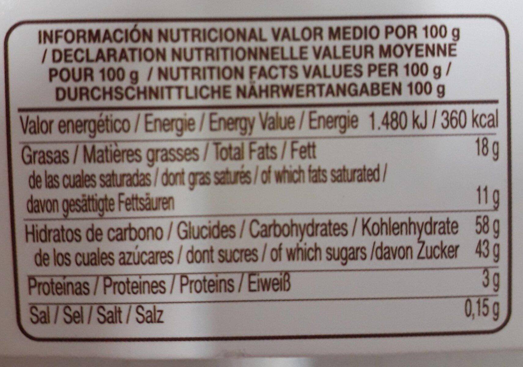 Leticias. Naranja al chocolate - Informació nutricional - fr