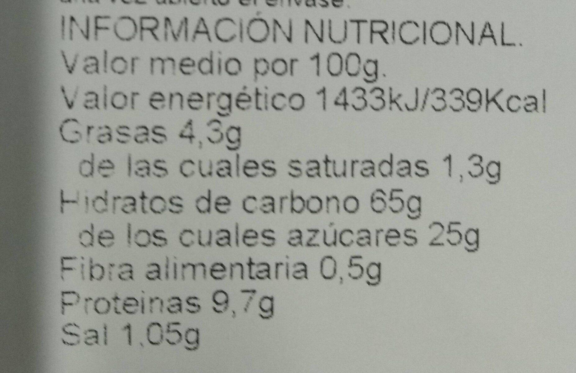 Bizcochos de Soletilla cocido sobre horno de piedra - Informations nutritionnelles - es
