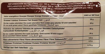 Palmeritas recubiertas al Cacao - Nutrition facts - es
