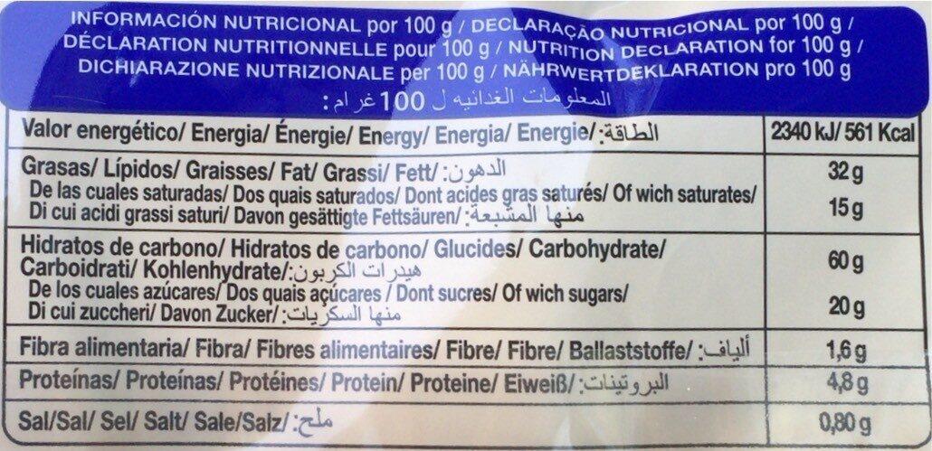 Palmeritas de Hojaldre - Informació nutricional - fr