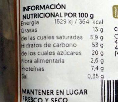 Brioche con pepitas de chocolate - Informació nutricional
