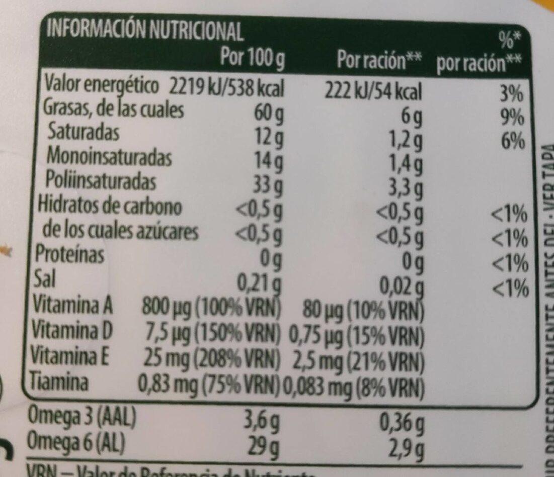 Margarina original - Valori nutrizionali - es