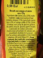 Galletas con naranja y pasas - Ingredients