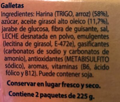 Galletas Tostadas al horno - Ingredientes