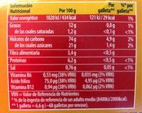 Galletas Tostadas al horno - Información nutricional