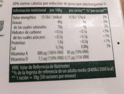 Margarina - Informations nutritionnelles