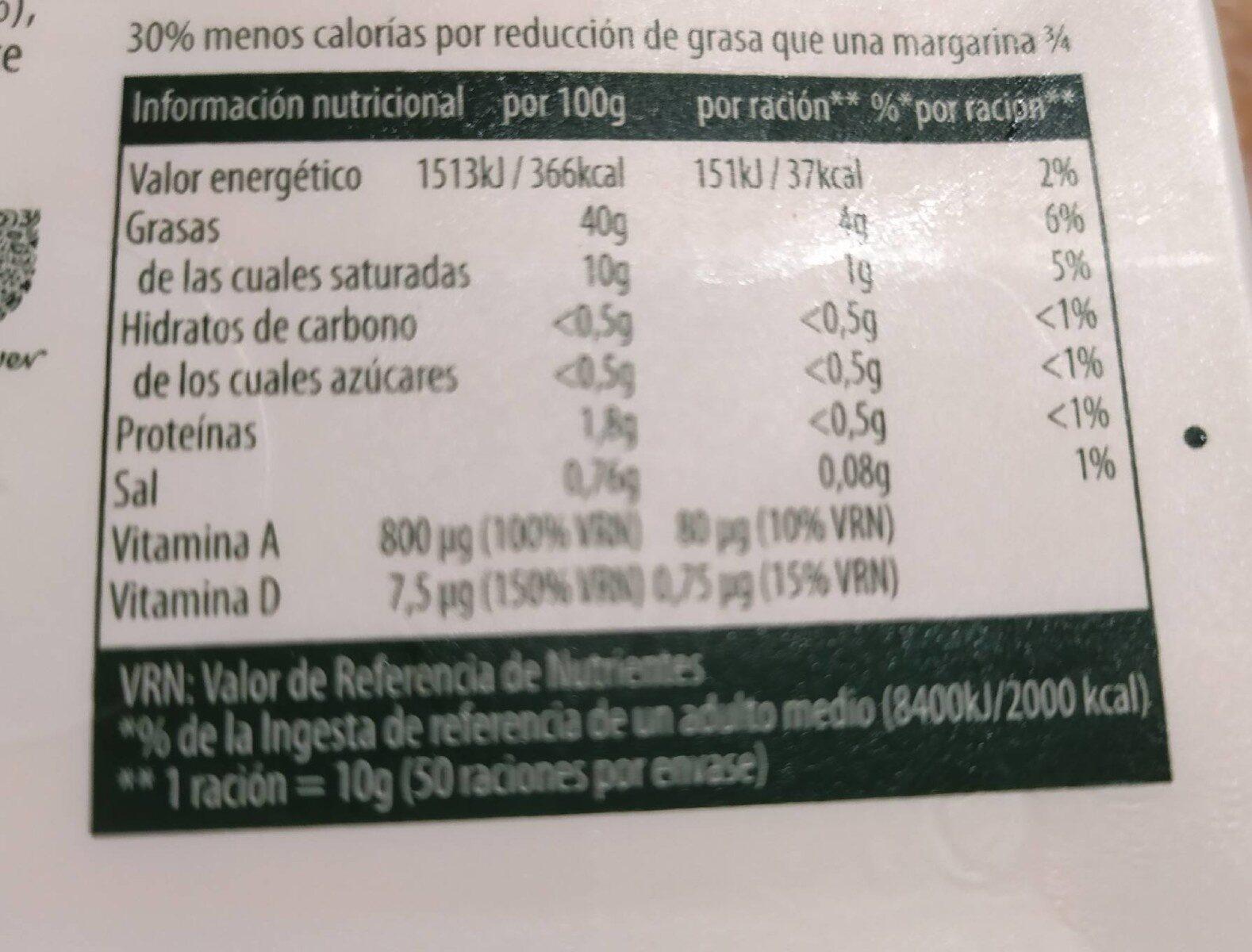 Margarina - Informations nutritionnelles - es