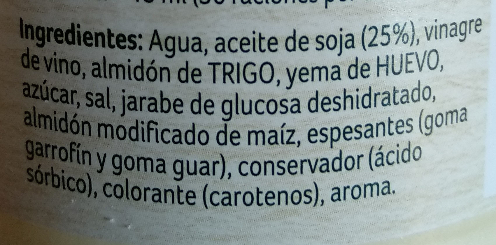 Ligeresa original - Ingredientes - es