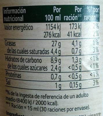 Ligeresa original - Información nutricional